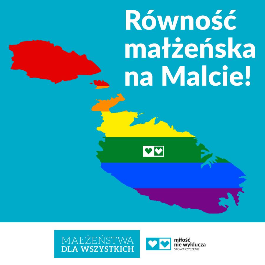 """Na niebieskim tle tęczowy obrys Malty. Po lewej stronie na górze napis """"Równość małżeńska na Malcie!"""""""