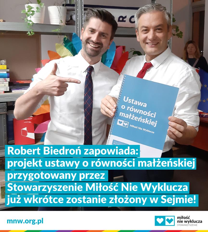 Biedroń obiecuje: złożę ustawę o równości małżeńskiej Miłość Nie Wyklucza w Sejmie
