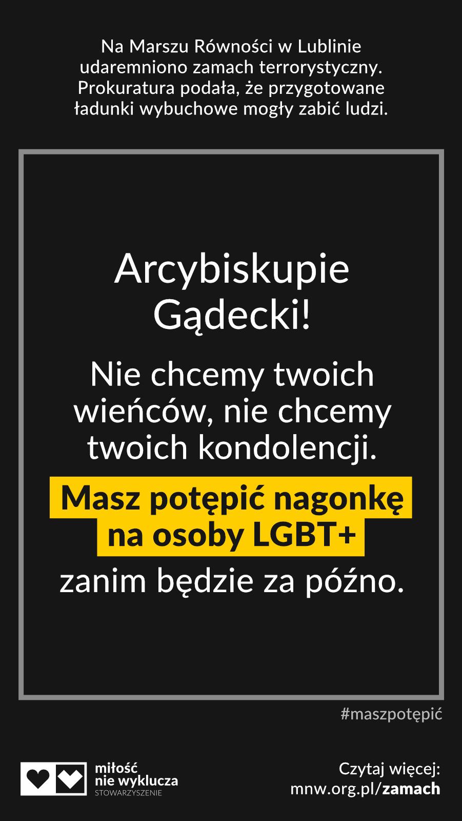 arcybiskup Gądecki #maszpotepic zamach LGBT+