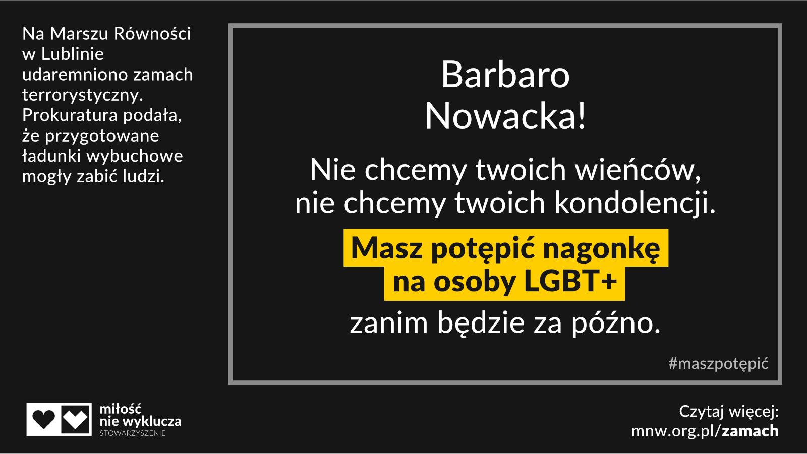 Barbara Nowacka #maszpotepic zamach LGBT+